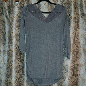 Gray blouse w/lace yoke